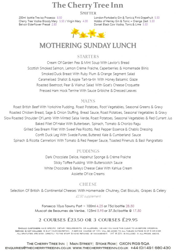 mothers day lunch, mothers day, mothers day oxfordshire, mothers day henley on thames